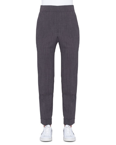 Chris Cuffed Stretch Wool Crepe Pants