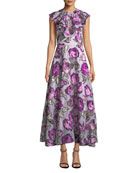 Lela Rose Ruffle-Front Sleeveless Metallic Rose Fil Coupe