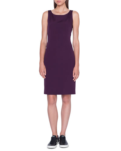 Sleeveless Stretch Silk Crepe Sheath Dress