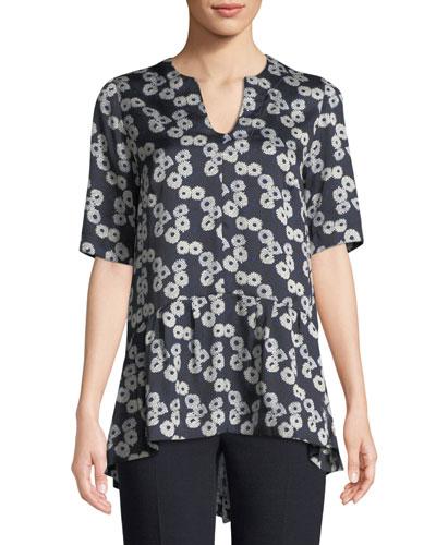 V-Neck Short-Sleeve Floral-Print Flounce-Hem Top