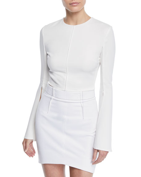 CUSHNIE Flare-Sleeve Liquid Cady Crop Top