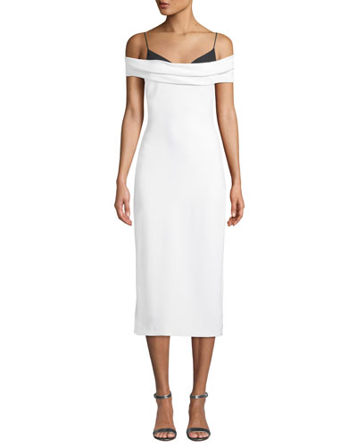Two-Tone Off-the-Shoulder Stretch-Cady Pencil Dress