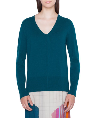 b8b7a55dc97810 Quick Look. Akris · V-Neck Cashmere Pullover Sweater
