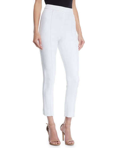 High-Waist Stretch-Cady Cigarette Pants w/ Topstitching