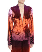 CUSHNIE Shawl-Collar Fitted Degrade Velvet Jacket and Matching