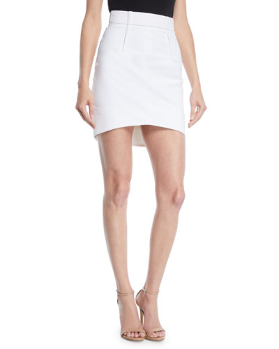 High-Waist Fitted Light Power Viscose Mini Skirt w/ Topstitching