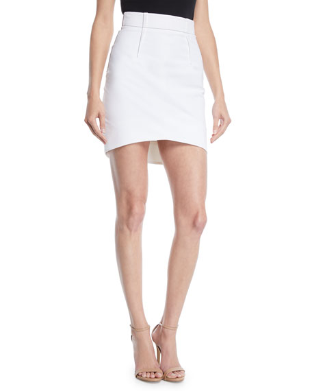 CUSHNIE High-Waist Fitted Light Power Viscose Mini Skirt w/ Topstitching