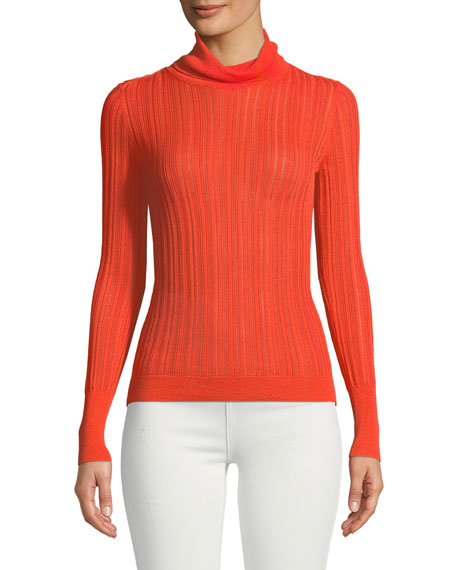 CUSHNIE Turtleneck Viscose-Blend Knit Top