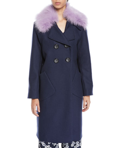 Double-Breasted Coat With Detachable Fur Collar