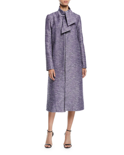 Tie-Neck Sequin-Embroidered Tweed Coat