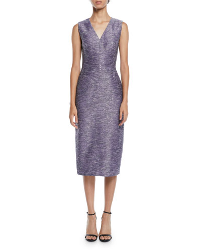 V-Neck Sleeveless Sequin-Embroidered Tweed Sheath Cocktail Dress