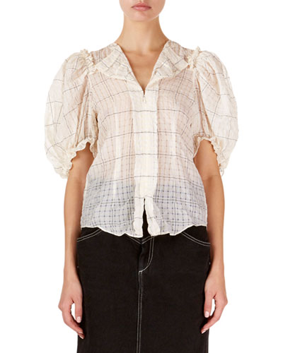 Abies Puff-Sleeve Checkered Organza Blouse