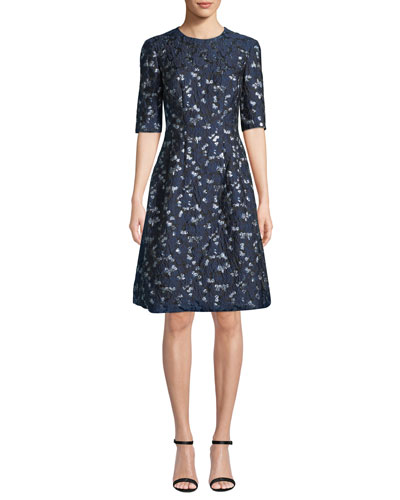 Holly Elbow-Sleeve Floral-Brocade Fit-and-Flare Dress