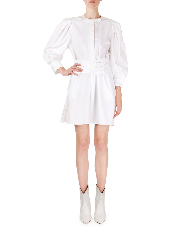 Galaxy Puff-Shoulder Mini Shirtdress, White