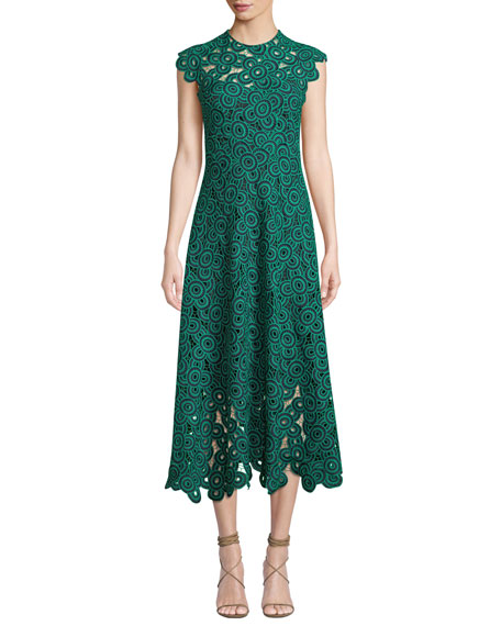 Lela Rose Circle-Guipure Lace Cap-Sleeve A-Line Midi Dress