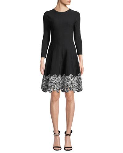 Crewneck Long-Sleeve Fit-and-Flare Dress w/Circle Lace Hem