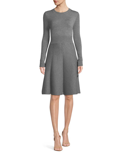 Crewneck Long-Sleeve Fit-and-Flare Loop-Stitch Knit Dress