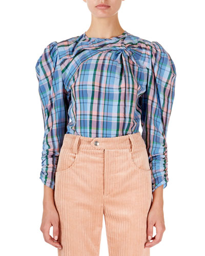 Esemee Twisted Plaid Puff-Shoulder Blouse