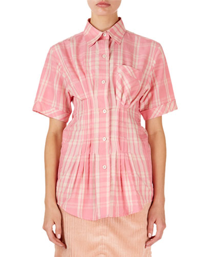 Emily Short-Sleeve Corseted Plaid Blouse
