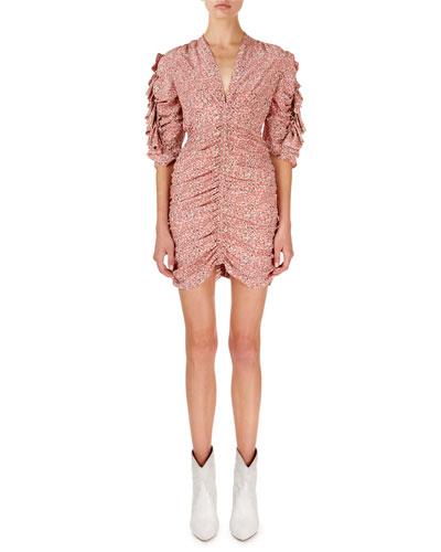 Andor Floral Ruched-Seam Mini Dress