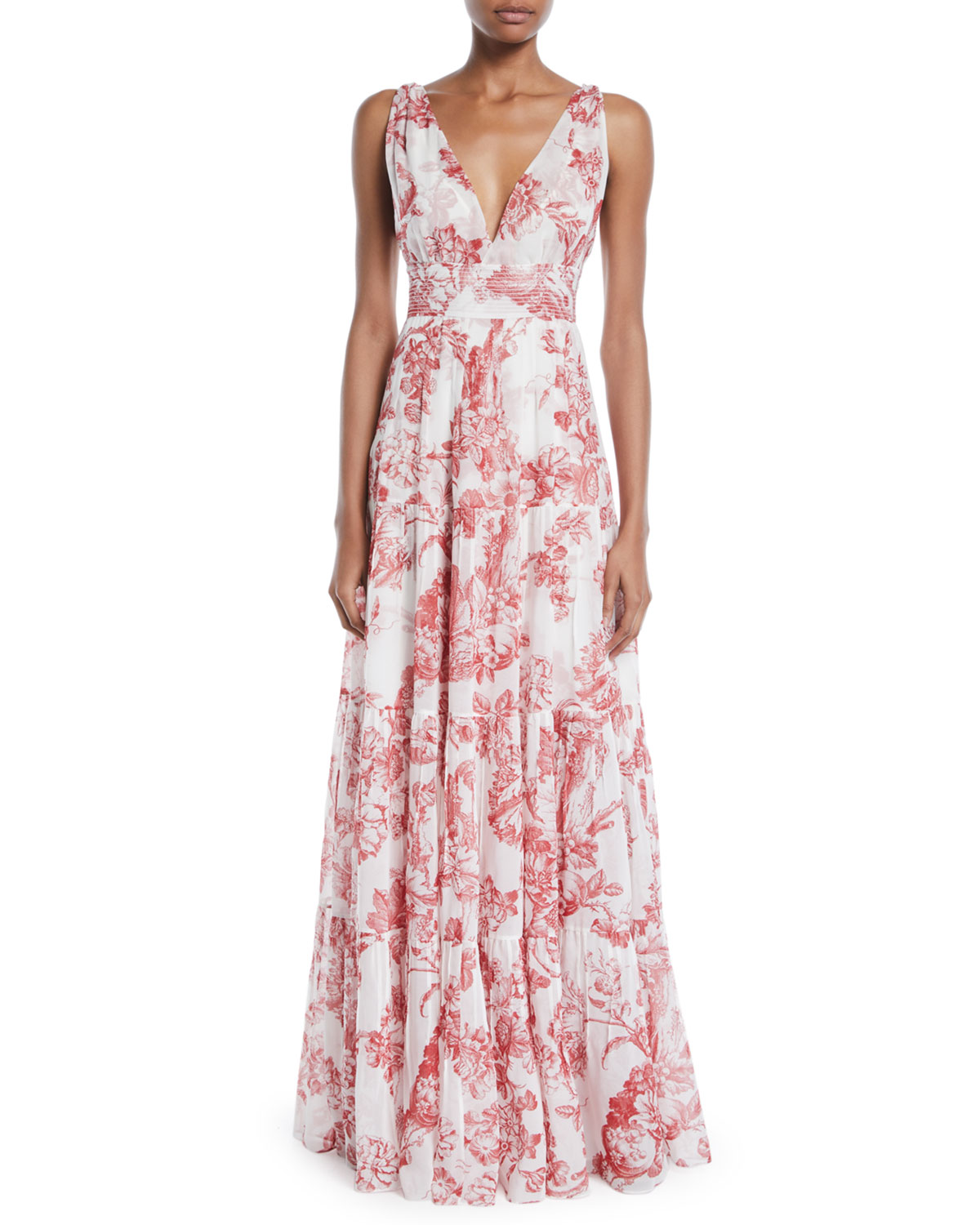 V-Neck Sleeveless Toile-Print Silk A-Line Long Day Dress in White