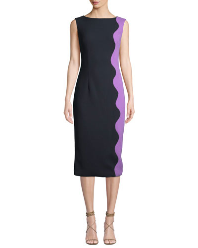 Boat-Neck Sleeveless Wave-Pattern Sheath Dress