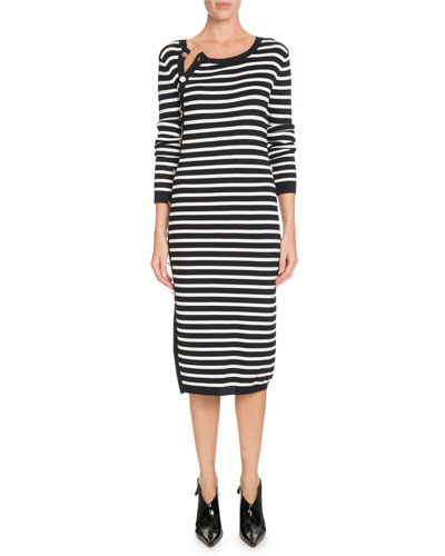 Button-Side Crewneck Long-Sleeve Striped Knit Sweaterdress