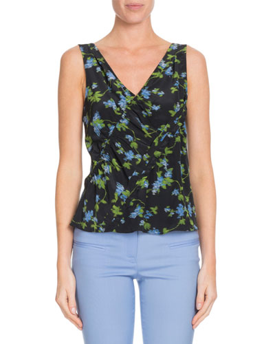 V-Neck Floral-Print Silk Top