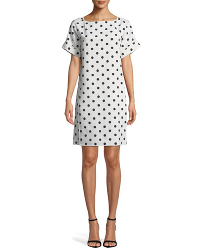 Bow-Back Polka-Dot Crepe Dress