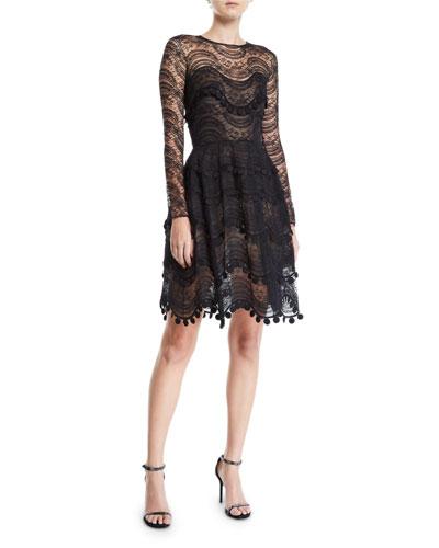 Wavy Lace Scalloped Illusion Dress