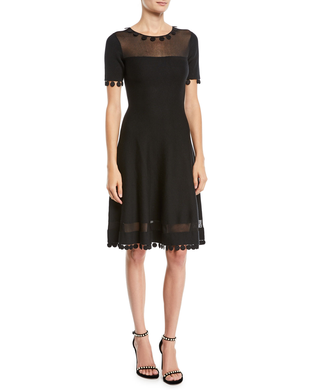 Short-Sleeve Pompom Knit Day Dress W/ Sheer Inserts in Black