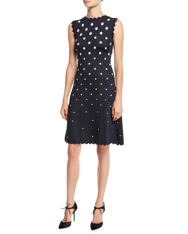 High-Neck Sleeveless Scalloped Fit-And-Flare Polka-Dot Dress, Blue/White