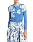 Oscar de la Renta Floral-Embroidered Button-Front Wool Cardigan