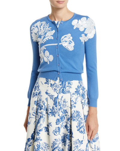 Floral-Embroidered Button-Front Wool Cardigan