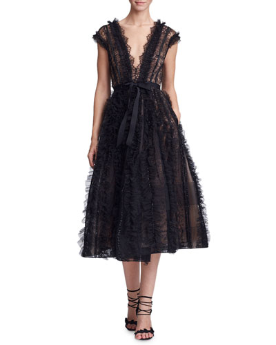 9c030ea983 Quick Look. Marchesa · Plunging V-Neck Lace   Ruffled Cocktail Dress