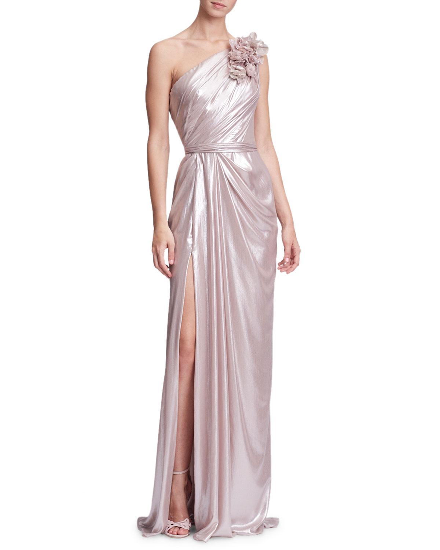 3-D Floral One-Shoulder Draped Evening Gown w/ Front Slit
