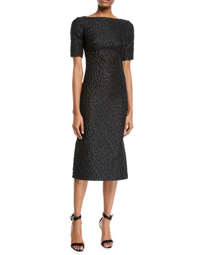 Short-Sleeve Leopard-Jacquard Midi Sheath Cocktail Dress