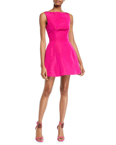 Sleeveless Fit-and-Flare Silk Faille Bubble Dress