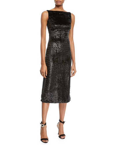 Sleeveless Boat-Neck Metallic Velvet Mid-Calf Sheath Dress