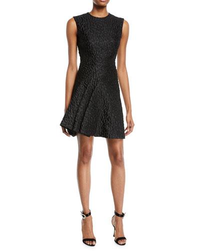 Sleeveless Leopard-Jacquard Wrap-Seam Cocktail Dress