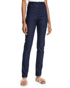 Brandon Maxwell High-Waist Five-Pocket Skinny-Leg Jeans