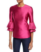 Brandon Maxwell 3/4-Sleeve Tiered-Cuff Satin Top and Matching