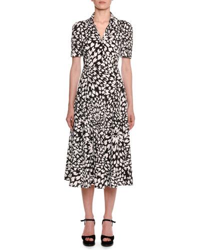Dahlia-Print Short-Sleeve Cotton Shirtdress
