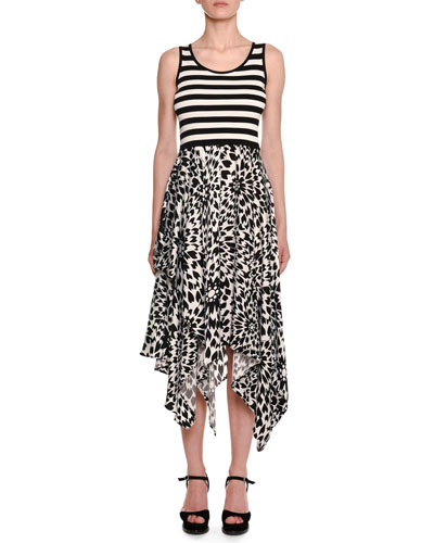 Sleeveless Crewneck Striped-Tank Floral-Print Skirt Midi Dress