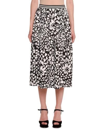Dahlia-Print A-Line Midi Skirt w/ Striped Waistband