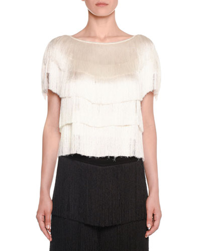 Short-Sleeve Allover Tiered Fringe Cropped Top