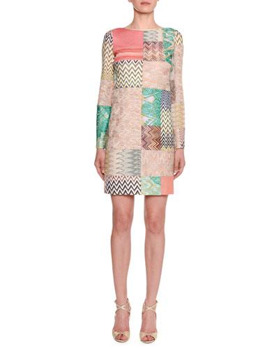 Long-Sleeve Multicolor Patchwork Sheath Dress