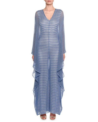 91d8220d3de5 Quick Look. Missoni · Metallic Striped Mesh Jumpsuit w  Cascade Ruffle