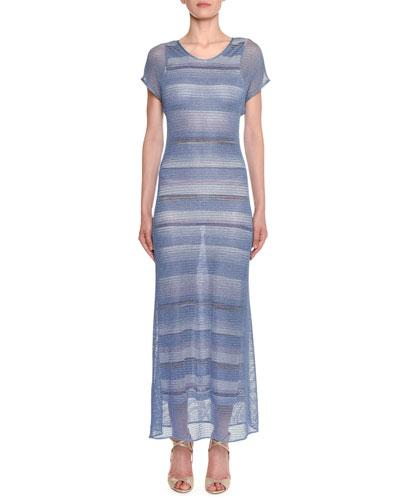 Metallic-Mesh Striped Long Sheath Dress