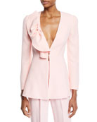 Delpozo Deep-V Bow-Detail Long-Sleeve Crepe Jacket and Matching